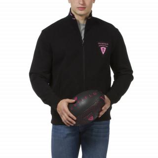 Sweat zippé noir Maison de Rugby avec manches longues, écusson brodé et liseré rose sur revers de col. Molleton lourd d'hiver
