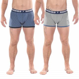 Lot de 2 boxers pour homme bleu et gris ceinture élastiquée Ruckfield