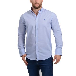 chemise homme bleu manches longues coupe classique disponible en grandes tailles.