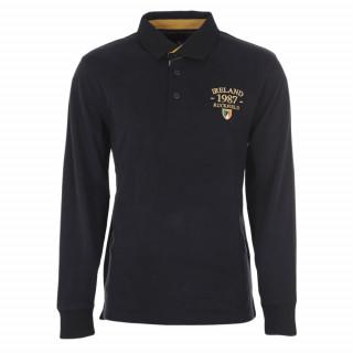 Polo manches longues noir en pur coton avec broderies aux couleurs de l'Irlande