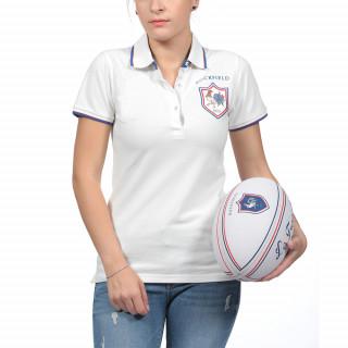 Charmant Polo pour femme blanc French Rugby Club avec écusson Coq 1977
