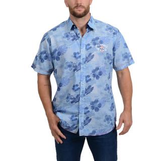 Chemise bleue aux imprimés floraux sur le thème Island