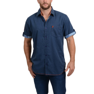 Chemise à manches courtes bleu marine Aloha Rugby Tour du thème Island.