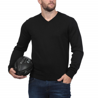 Pull Col V Rugby Essentiel Noir
