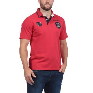 Polo rouge brodé du thème Rugby à la Plage