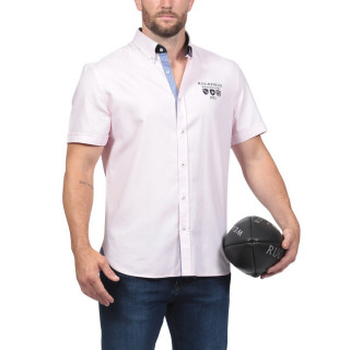Chemise We are Rugby en coton rose. Logo brodé poitrine et dos.