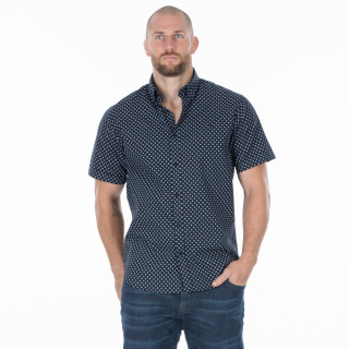 Chemise d'été coton manches courtes bleu moyen