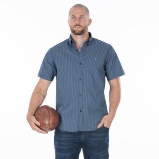 Chemise d'été coton manches courtes bleu marine