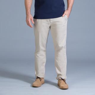 Pantalon chino en coton élasthanne beige avec broderie Sébastien Chabal