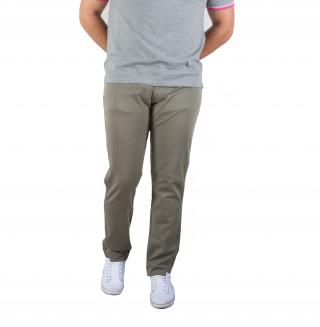 Pantalon 5 poches en coton élasthanne kaki avec broderie Sébastien Chabal