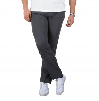 Pantalon 5 poches en coton élasthanne gris avec broderie Sébastien Chabal
