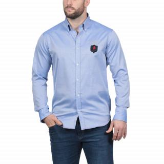 Chemise manches longues en coton dobby bleu clair avec patch et broderie Rugby