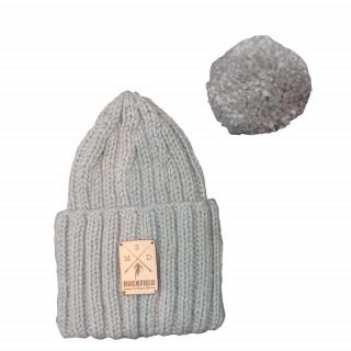 Bonnet a pompon en laine gris