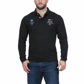Polo manches longues en coton jersey noir avec broderies Nations.