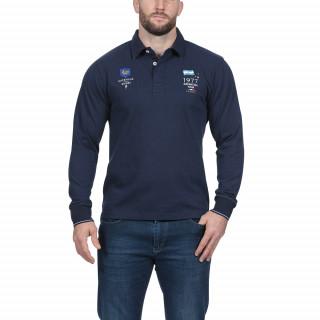Polo manches longues en coton jersey bleu marine et broderies nations.