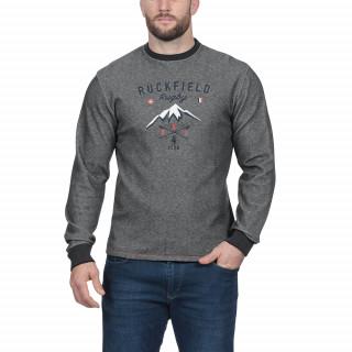 T-shirt manches longues gris en coton mélangé avec broderies poitrine. Disponibles jusqu'au 5XL