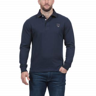 Polo de rugby en coton bleu marine et logos brodés