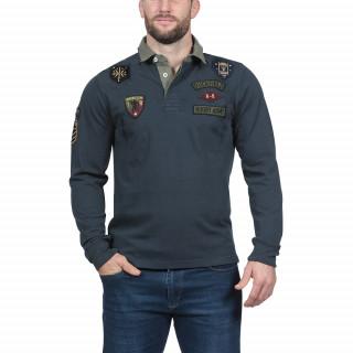 Polo manches longue sen coton jersey bleu avec broderies Rugby Army.