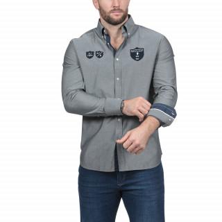 Chemise manches longues en coton gris avec broderies poitrine et dos.