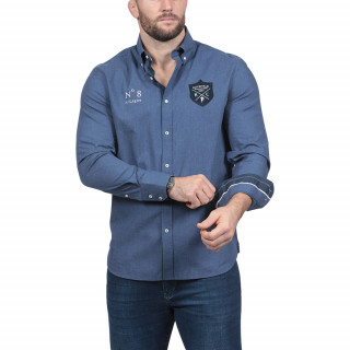 Chemise en coton bleu manches longues avec broderies We are Rugby