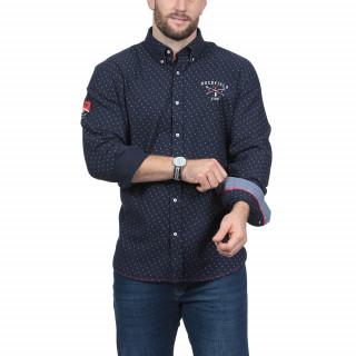 Chemise manches longues en twill de coton imprimé avec broderies rugby ski.