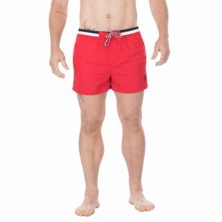 Short de bain en nylon unie rouge avec broderie Sébastien Chabal sur la cuisse.