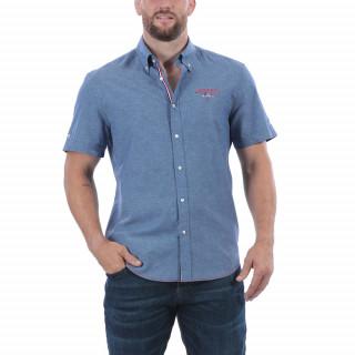 Chemise manches courtes en lin mélangé avec broderies et galon aux couleurs de la France. Disponible jusqu'au 5XL