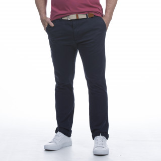 Pantalon chino bleu en coton mélangé.
