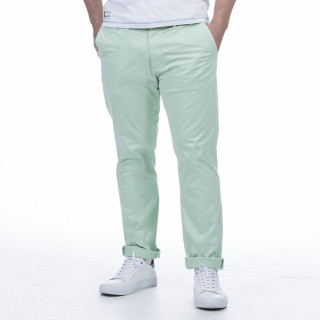 Pantalon chino en coton élasthanne vert d'eau
