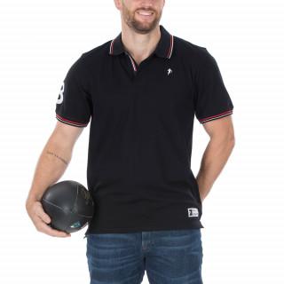 Polo manches courtes en coton piqué noir avec broderie Sébastien Chabal et N°8 sur la manche. Disponible du S au 5XL