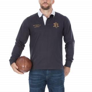 Polo en manches longues rugby héritage gris, disponible en grandes tailles.