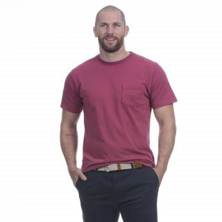 T-shirt en jersey de coton rouge avec broderie sur poche.Disponible du S au 5XL