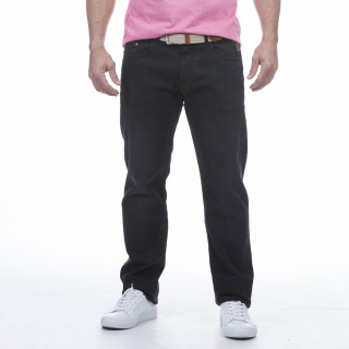 Jean 5 poches noir en coton avec patch en cuir