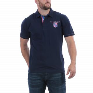 Polo manches courtes en coton bleu Maison de Rugby. Disponible jusqu'au 5XL