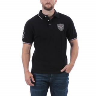 Polo de rugby anniversaire manches courtes noir avec une belle broderie poitrine.