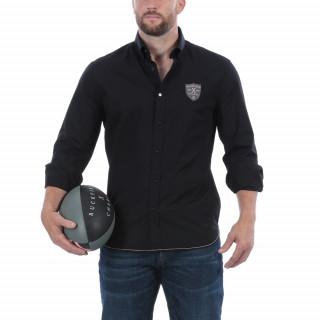 Chemise de rugby anniversaire manches longues noir avec broderies poitrine et n°8 dans le dos.