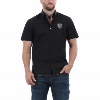 Chemisette de rugby anniversaire manches courtes noir avec une belle broderie poitrine.