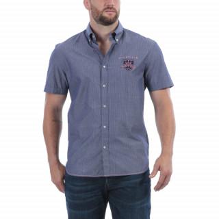 Chemise manches courtes en coton bleu à rayures et broderies Maison de rugby. Disponible jusqu'au 5XL