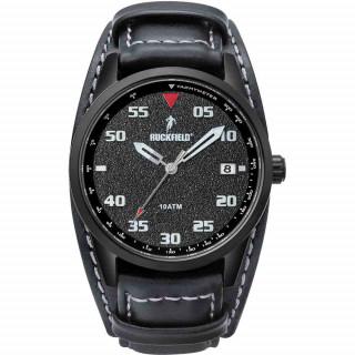 Montre noire bracelet cuir Ruckfield étanche 100 mètres
