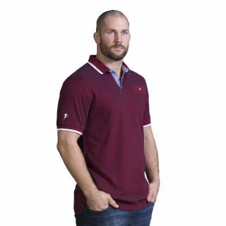Polo élégant rouge en manches courtes avec broderie sur poche poitrine.