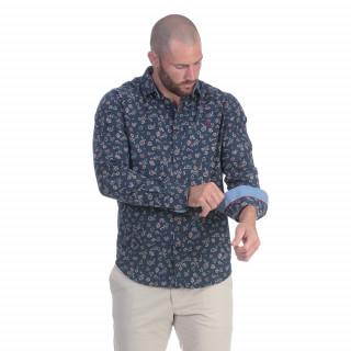 Chemise manches longues à fleurs avec broderie poitrine. Disponible du S au 5XL
