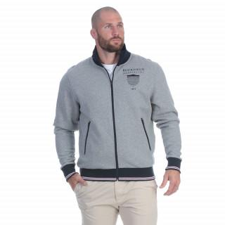 Sweat zippé en molleton gris, avec broderies poitrine et dos du thème We are rugby.