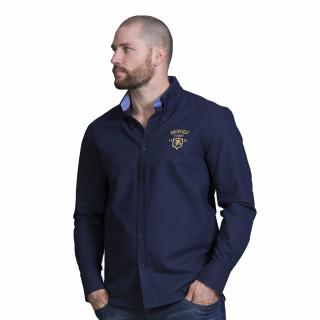 Chemise en popeline de coton bleu avec broderie poitrine et n°8 dans le dos. Disponible jusqu'au 5XL !