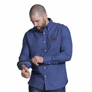 Chemise manches longues bleu avec broderies poitrine et dos du thème Maison de rugby.  Existe du S au 5XL