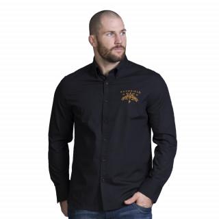 Chemise manches longues noir en coton avec broderies Maison de rugby. Disponible du S au 5XL