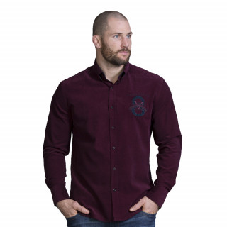 Chemise manches longues en velours bordeaux avec broderies Maison de rugby. Disponible jusqu'au 5XL