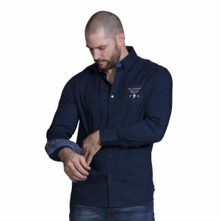 Chemise de rugby bleu marine manches longues.Broderies et imprimé à fleurs du thème We are ruby