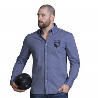Chemise manches longue bleu avec broderies du thème We are rugby