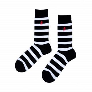 Chaussettes rayées noir et blanche, disponible en 39/42, 43/46, 47/50