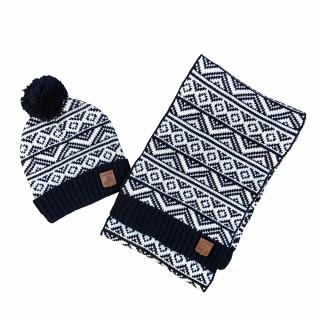 Pack bonnet + écharpe bleu marine